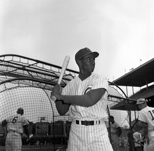 Ernie Banks of the Chicago Cubs posed batting during batting practice, circa 1959. BL-1562.76 (National Baseball Hall of Fame Library)