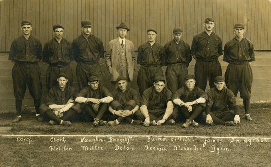 Photograph of the 1914 National League Barnstorming All Stars at Ewing Field of San Francisco in November 1914. Players names inscribed in negative below. BL-76.2010.2