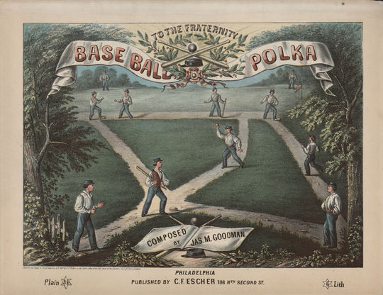 "The front cover for the sheet music to ""Base Ball Polka."" B-247.50 (National Baseball Hall of Fame Library)"