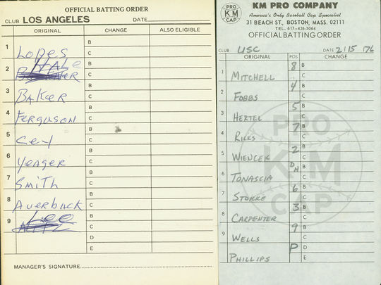 This batting order card, from an exhibition game between USC and the Los Angeles Dodgers, was among what Wren donated to the Hall of Fame. (National Baseball Hall of Fame)