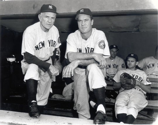 Hank Bauer spent much of his time with the Yankees playing under Hall of Fame manager Casey Stengel, pictured here with Bauer. (National Baseball Hall of Fame and Museum)