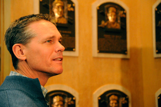 Craig Biggio soaks in the experience at the Hall of Fame's Plaque Gallery during his Orientation Visit on Friday, Jan. 30 in Cooperstown. (Milo Stewart Jr./National Baseball Hall of Fame)