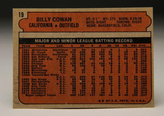 Reverse side of the 1972 Topps Billy Cowan card. (Milo Stewart, Jr. / National Baseball Hall of Fame)