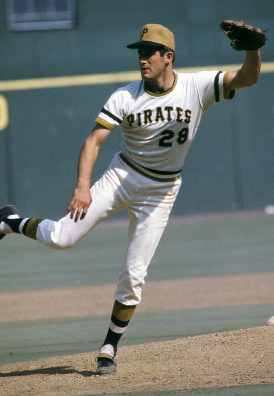 Steve Blass pitched a four-hitter in Game 7 of the 1971 World Series, earning the win as the Pirates defeated the Orioles 2-1. (National Baseball Hall of Fame and Museum)