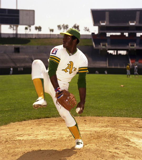 Although Vida Blue was sold to the New York Yankees for $1.5 million, the sale was nullified by Commissioner Bowie Kuhn. Blue would remain with the A's through the 1977 season. (Doug McWilliams / National Baseball Hall of Fame)