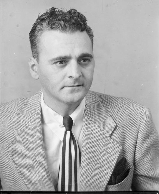 The <em>Washington Post</em>'s Bob Addie covered the Senators for twenty years until the team left in 1971. He wrote two profiles of Paula in 1955, one for the <em>Post</em> and one for the <em>Sporting News</em>. (National Baseball Hall of Fame)
