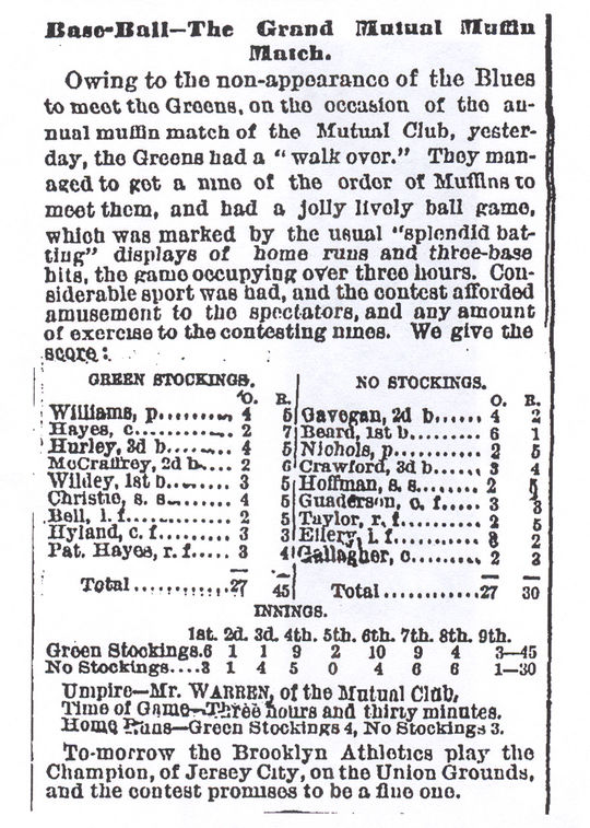 """A box score for a """"Muffin Match"""" between the Green Stockings and the No Stockings."""