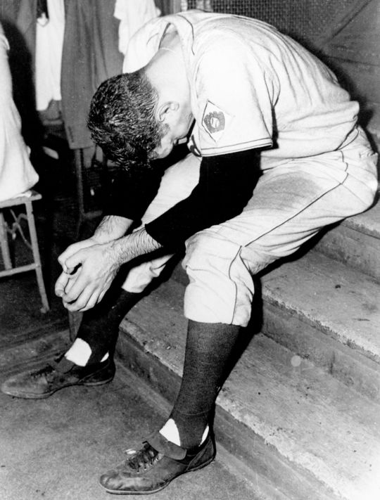 Branca after giving up the home run in Game 3, 1951. BL-7283.96 (Barry Stein)