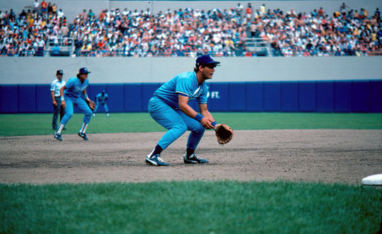 George Brett in position to make a play during an 1986 game. BL-11507.94 (Michael Ponzini / National Baseball Hall of Fame Library)