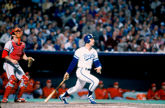 George Brett follows through on a swing during the 1985 World Series. Brett carried a .370 average in the series as the Royals defeated the Cardinals for the franchise's only world championship. BL-539-2003 (National Baseball Hall of Fame Library)