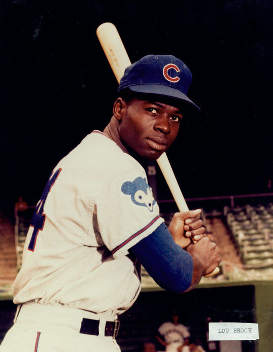 A young Lou Brock, donning his Chicago Cubs uniform, prior to getting traded to St. Louis. (National Baseball Hall of Fame)