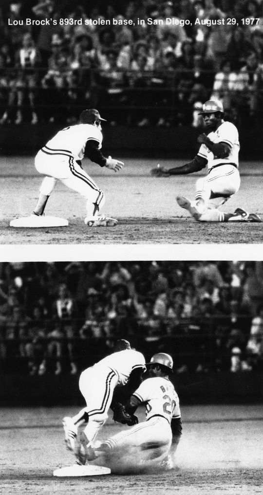 Lou Brock, stealing his 893rd career base in 1977, breaking Ty Cobb's all-time mark. (National Baseball Hall of Fame)