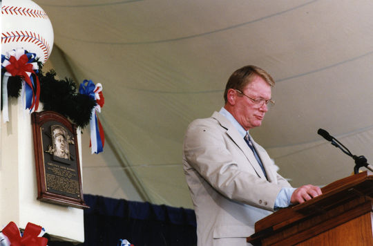 Jim Bunning at his Hall of Fame Induction in 1996. (Milo Stewart Jr. / National Baseball Hall of Fame and Museum)