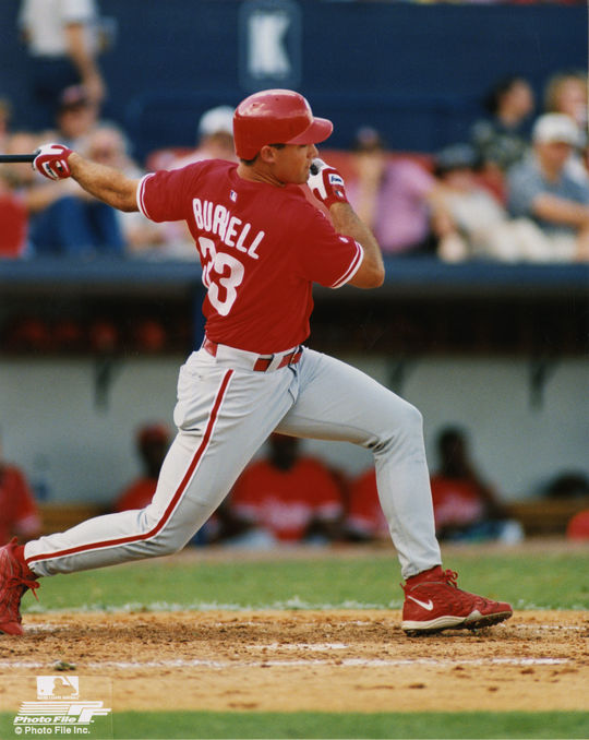 Pat Burrell batting as a member of the Philadelphia Phillies. (Photo File / National Baseball Hall of Fame)