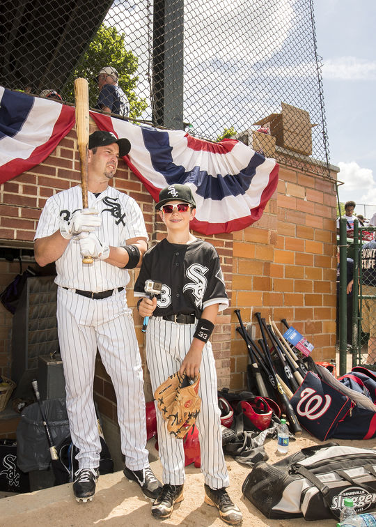 Aaron Rowand pictured with his son McKay (right) who served as a bat boy in the 2016 Hall of Fame Classic. (Jean Fruth / National Baseball Hall of Fame and Museum)