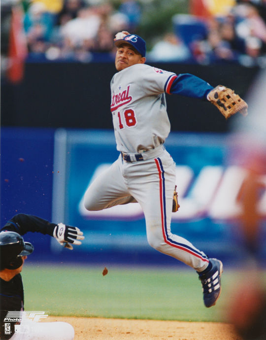 Orlando Cabrera of the Montreal Expos fielding a ball. (National Baseball Hall of Fame)