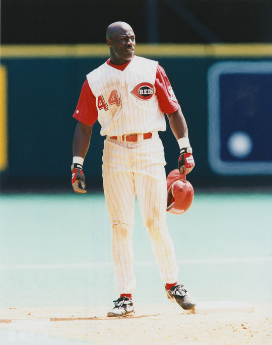 Mike Cameron of the Cincinnati Reds standing on base at a home game in 1999. (National Baseball Hall of Fame)