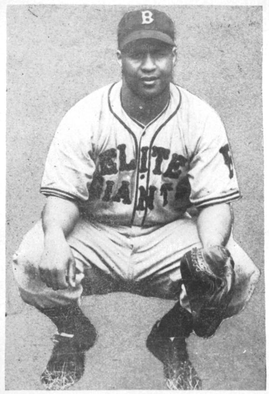 Campy posed in his Elite Giants uniform. BL-13.2008.4 (Lawrence Hogan / National Baseball Hall of Fame Library)