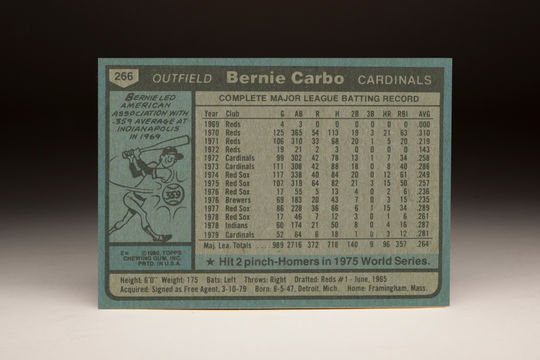 Reverse side of the 1980 Bernie Carbo Topps card. (Milo Stewart Jr. / National Baseball Hall of Fame)