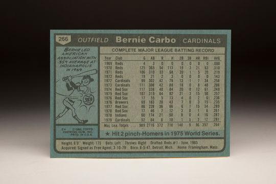 Reverse side of the 1980 Bernie Carbo Topps card. (Milo Stewart Jr. / National Baseball Hall of Fame)