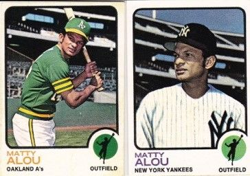 Two Matty Alou baseball cards, one of him as an Oakland Athletic and the other as a New York Yankee. (National Baseball Hall of Fame)