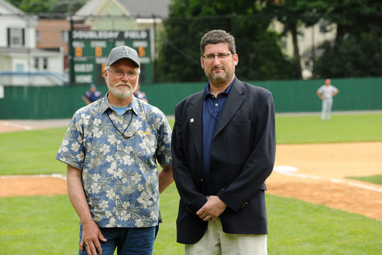 Doug McWilliams with the Hall of Fame's Vice President of Exhibitions and Collections Erik Strohl. (National Baseball Hall of Fame Library)