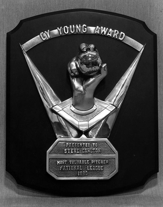 Steve Carlton would become the first pitcher in history to win four Cy Young Awards, including this one from 1980, which is preserved at the National Baseball Hall of Fame. (Milo Stewart Jr. / National Baseball Hall of Fame)