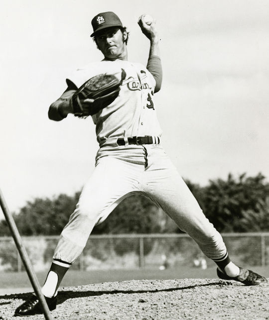 Cardinals' lefty Steve Carlton struck out 19 batters against the Mets on Sept. 15, 1969, setting a new major league record for strikeouts in a nine inning game. (National Baseball Hall of Fame and Museum)