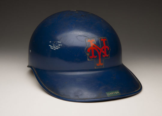 Batting helmet worn by the New York Mets' Gary Carter during the 1986 World Series. B-50-2012 (Milo Stewart, Jr. / National Baseball Hall of Fame)