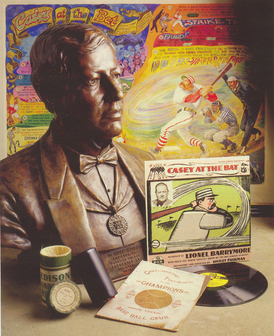 A collage of artifacts related to Casey at the Bat found at the National Baseball Hall of Fame's Museum and Library. (Milo Stewart Jr. / National Baseball Hall of Fame)