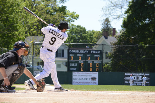 Former Colorado Rockies third baseman Vinny Castilla launches a home run toward the Doubleday Field scoreboard during the Home Run Derby as part of the 2015 Hall of Fame Classic on May 23, 2015 in Cooperstown, NY (Milo Stewart, Jr. / National Baseball Hall of Fame)