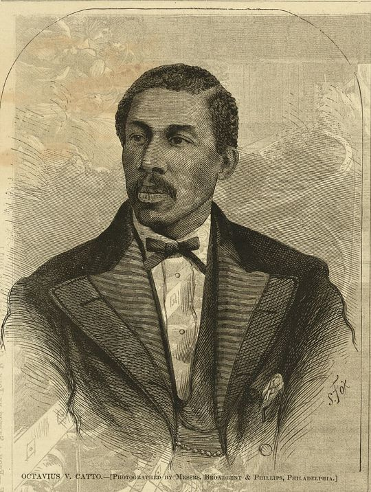 A woodcut portrait of baseball player and civil rights activist Octavius V. Catto that appeared in the Oct. 28, 1871 edition of <em>Harper's Weekly</em>. (Courtesy of the Library of Congress)