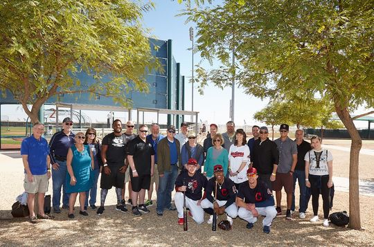 Champions Spring Training event hosted by the Cleveland Indians. Pictured from the Indians (L to R) are Indians ballplayers Roberto Perez, Francisco Lindor and Bradley Zimmer.