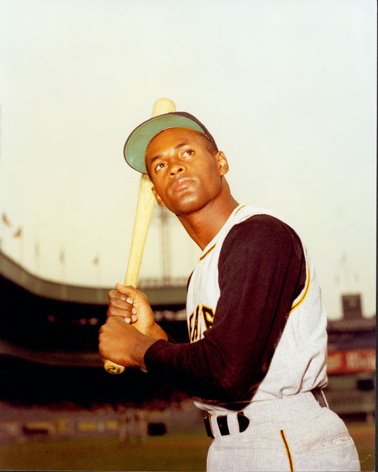 Gene Clines played alongside Hall of Famer Roberto Clemente, pictured above, in the Pirates' outfield. (National Baseball Hall of Fame and Museum)