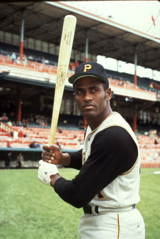 Roberto Clemente played for Pittsburgh for 18 seasons, winning 4 National League batting championships en route to 3,000 career hits. BL-60-2005 (Cliff Boutelle / National Baseball Hall of Fame Library)