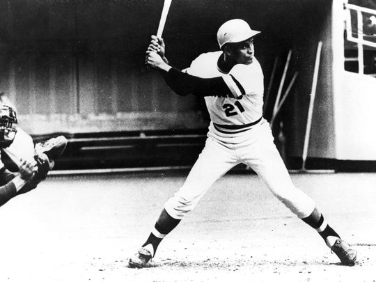 Roberto Clemente's wide stance and powerful arms made him one of the best bad-ball hitters of his generation. Clemente batted .317 over his big league career. BL-895.92 (National Baseball Hall of Fame Library)