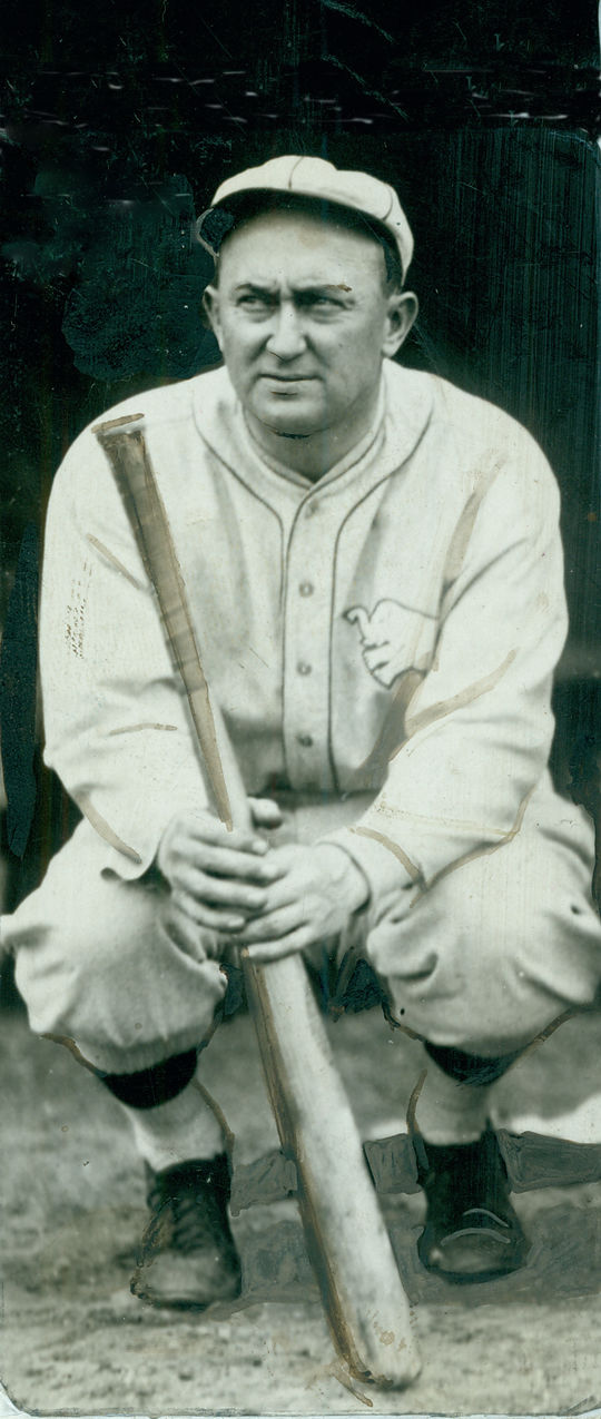 Ty Cobb of the Philadelphia Athletics crouching with a bat. BL-1471-68WTqq (National Baseball Hall of Fame Library)