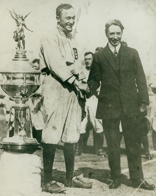 Ty Cobb accepting his third Honey Boy Evans trophy in 1911. (National Baseball Hall of Fame and Museum)