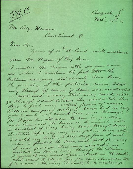 "Correspondence between Garry Herrmann and HOFer Ty Cobb. BL-34.60 (August ""Garry Herrmann Papers / National Baseball Hall of Fame Library)"