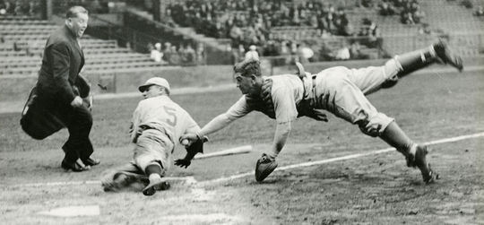 Athletics catcher Mickey Cochrane tags out the Phillies' Pinky Whitney during an exhibition game at Shibe Park on April 1, 1933. Cochrane was traded to the Tigers following the 1933 season. (National Baseball Hall of Fame and Museum)