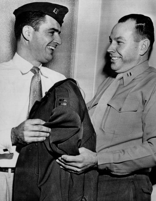 Yankees infielder Jerry Coleman (left) served alongside Ted Williams in the Korean War, and was the only professional baseball player to serve in combat in both World War II and Korea. (National Baseball Hall of Fame)