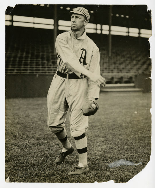 """Eddie Collins was part of the Philadelphia Athletics' famed """"$100,000 Infield"""", which was broken up when the 27-year-old Collins was sold to the White Sox after the 1914 campaign. (Charles Conlon/National Baseball Hall of Fame and Museum)"""