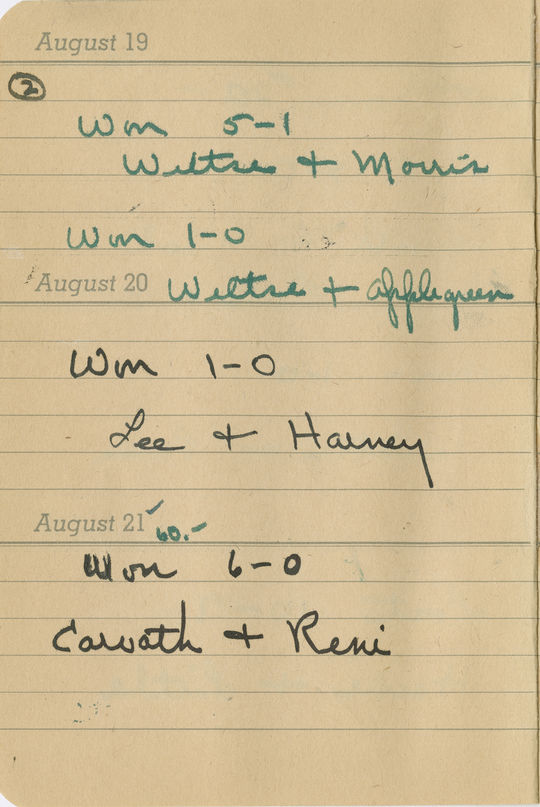 """An excerpt from Dottie Collins' 1945 diary, part of the National Baseball Hall of Fame collection, documenting how Collins fared that day. <a href=""""http://collection.baseballhall.org/islandora/object/islandora%3A503952"""">PASTIME</a> (National Baseball Hall of Fame and Museum)"""