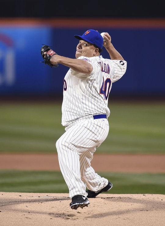 New York Met Bartolo Colon pitching on April 2, 2014. BL-44.2015.14 (National Baseball Hall of Fame Library)