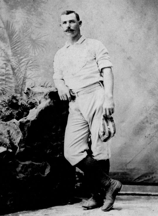 """Roger Connor spent 18 seasons in the major leagues, beginning his career with the Troy Trojans in 1880 and spending the majority of his career with the New York Giants.<a href=""""http://collection.baseballhall.org/PASTIME/roger-connor-cabinet-card-between-1880-1882"""">PASTIME</a> (National Baseball Hall of Fame and Museum)"""