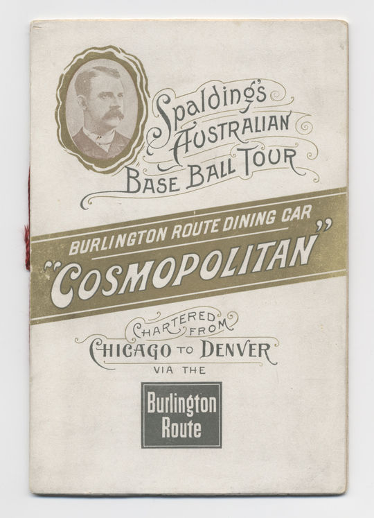Menu used by the players on the 1888-89 Spalding Tour as they traveled by train from Chicago to Denver. (Milo Stewart, Jr. / National Baseball Hall of Fame Library)
