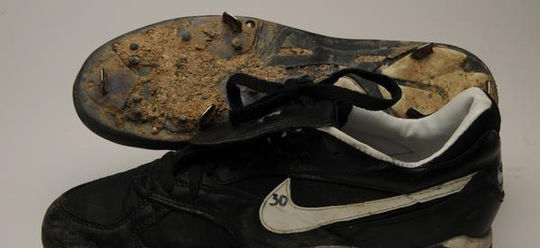 The Marlins' Craig Counsell wore these spikes, which are now preserved at the Hall of Fame, when he scored the winning run in the 11th inning of Game 7 of the 1997 World Series. (Milo Stewart Jr./National Baseball Hall of Fame and Museum)