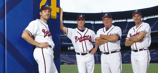 Bobby Cox led the Atlanta Braves, featuring future Hall of Fame pitchers (from left) John Smoltz, Tom Glavine and Greg Maddux, to 15 straight finishes in playoff position from 1991-2005 - a stretch that included five National League pennants and the 1995 World Series title. (National Baseball Hall of Fame and Museum)