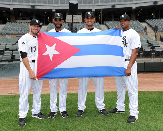 Cuban-born players (from left to right) Adrian Nieto, Alexei Ramirez, Jose Abreu and Dayan Viciedo of the Chicago White Sox pose for a portrait prior to the game against the Tampa Bay Rays on April 29, 2014 at U.S. Cellular Field in Chicago, Illinois. (Ron Vesely / National Baseball Hall of Fame Library)