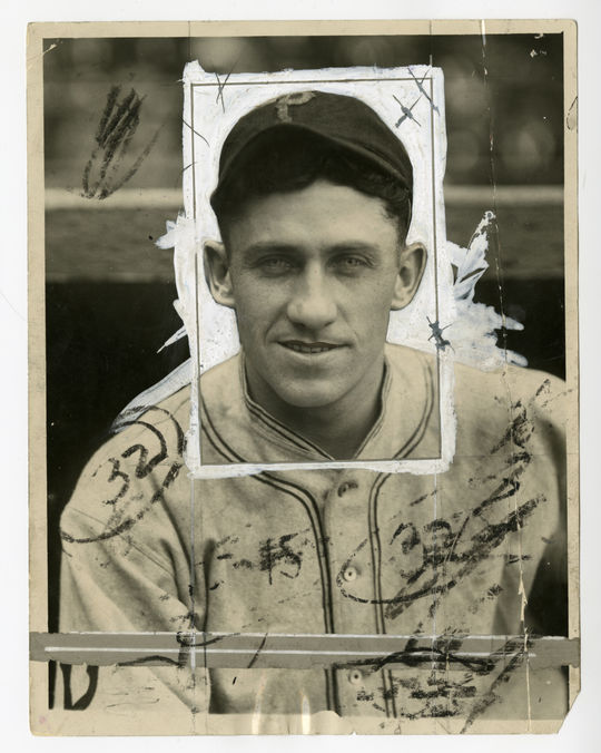 This original copy of a Charles Conlon photograph of Hall of Famer Kiki Cuyler illustrates the masking liquids and crayon markings editors used to prep the photo for publication. BL-1516-68WTK (Charles M. Conlon / National Baseball Hall of Fame Library)